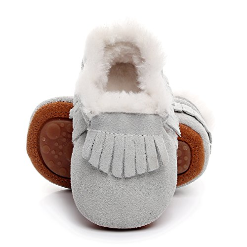 Winter Suede Fleece Lined Rubber Soles Non Slip Warm Baby Boots Girls Boys Moccasins with Fur Hard Sole Baby Shoes (6-12m/4.92