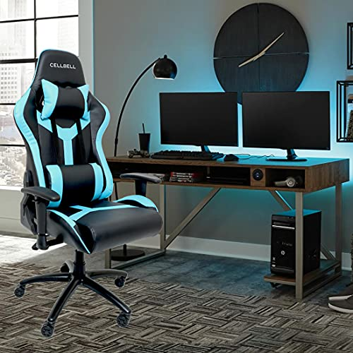 CELLBELL® GC03 Transformer Series Gaming/Racing Style Ergonomic High Back Chair with Removable Neck Rest and Adjustable Back Cushion [Blue-Black]