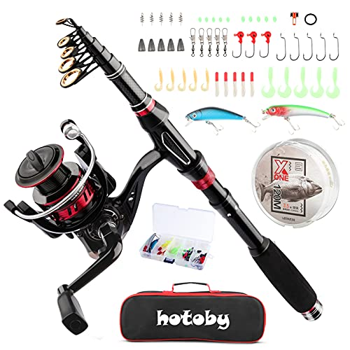 Hotoby Fishing Rod and Reel Combo, Fishing Rod Kit, Carbon Fiber Telescopic Fishing Pole with Spinning Reels with Tackle Box for Youth Adults Beginner Saltwater Freshwater