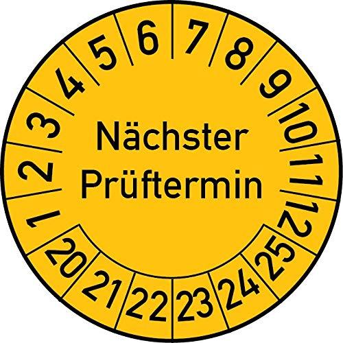 Nächster Prüftermin Prüfplakette, 100 Stück, in verschiedenen Farben und Größen, Prüfetikett Prüfsiegel Plakette (25 mm Ø, Gelb)