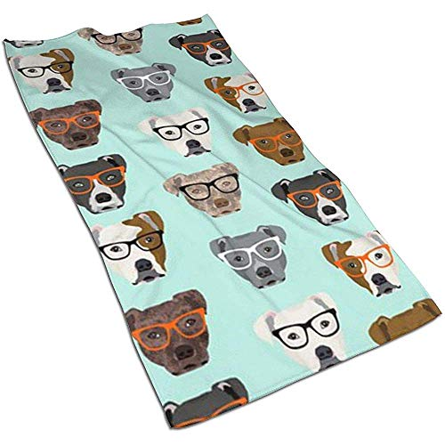 Snbin Pitbull in Glasses Microfibra Toallas de Mano Toallas Toallas de Secado rápido Toallas Deportivas (40x70cm) Uso para Viajes, Fitness, Yoga