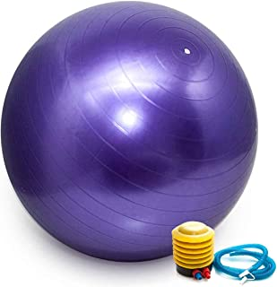 Bola Pilates Yoga Abdominal Ginástica Fitness 65 cm C/Bomba Roxo
