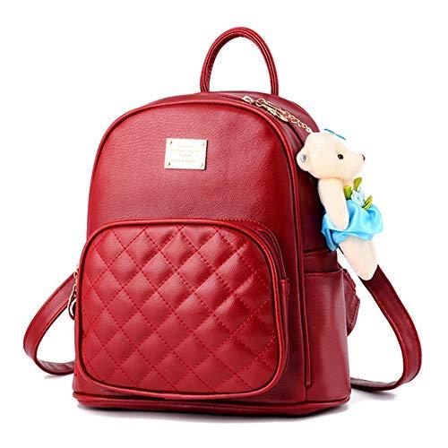 SPAHER Damen handtaschen Rucksack Kleinen Rucksack Wasserdichte Tagesrucksack Leder Schultertaschen Wasserdichte Schultasche Reise Daypacks Kleine Geldbörse Für Jugendlich Mädchen Rot