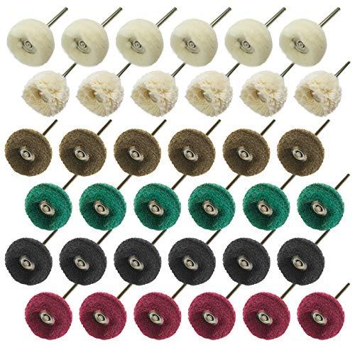 JIALUCONG Wool and Cotton Polishing Wheel Set for Dremel - 36Pcs Abrasive Buffing Wheel Set- Polishing Wheel or Rotary Tool Accessories - Buffing Polishing Wheel Set