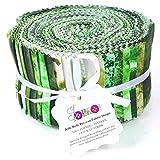 Soimoi 40Pcs Tie & Dye Print Thread Teléf Unidos Para Acolchar Las Tiras De Artesanía 2.5 X 42 Pulgadas Rollo De Jalea - Green-Fs