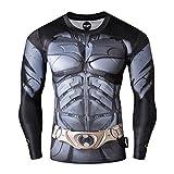 Nessfit, maglietta da uomo a compressione supereroe a maniche lunghe, strato di base per palestra, corsa, allenamento termico supereroe 1 L