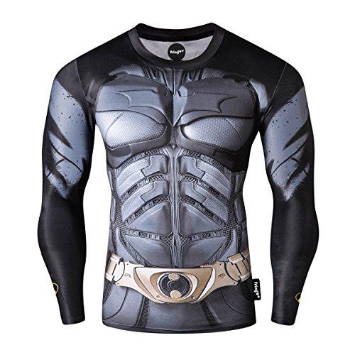 Fringoo® - Maglia intima tecnica a compressione da uomo, a maniche lunghe, per palestra, corsa, allenamento, motivo supereroe, Spiderman, Superman, Batman Batman. XL