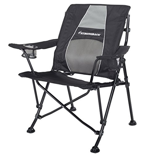 STRONGBACK Guru Folding Camp Chair with Lumbar Support, Black/Grey, Standard