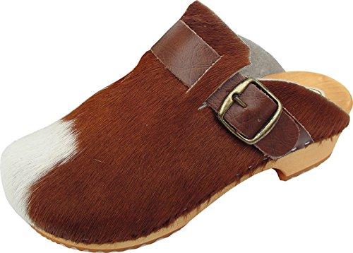 BUXA bei Lusy011 Schweden Holz Clogs - Pantolette Gr.35 BRAUN/Weiss, Echt Leder- Kuhfell (Made in Poland 8.02.13.95)