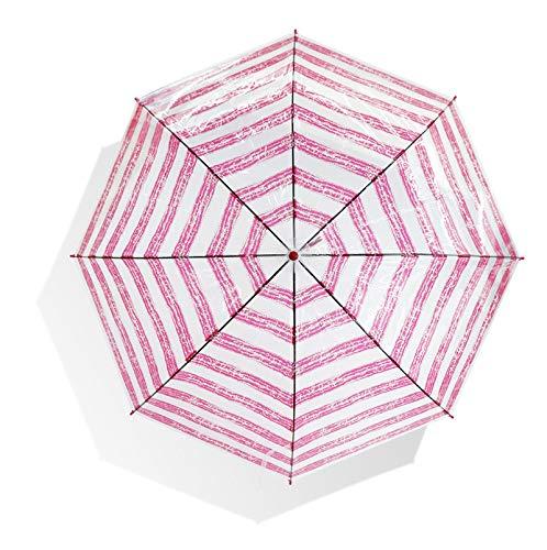 Mode Creatieve Stripes, Bedrukte Kunst Woord Transparante Paraplu, Decoratieve Milieubescherming Automatische Winddicht en Regenbestendig