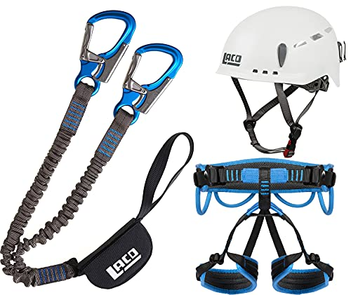 LACD Klettersteigset Pro Blue + Klettergurt Start Größe S + Helm Protector 2.0 White