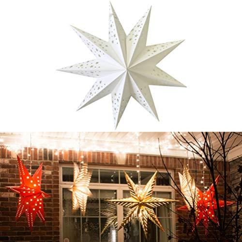 Uonlytech linternas de papel en forma de estrella de navidad 45cm plegables ahuecan luces colgantes linternas decorativas de fiesta de navidad
