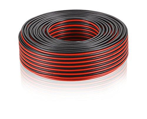 Manax - Cavo per altoparlante, 1,5 mm, r/s, 25 m, CCA 2 x 1,5 mm², 25 m, colore: Rosso/Nero