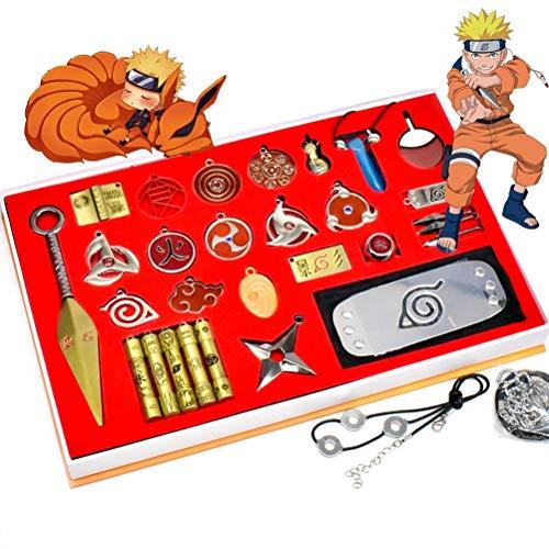 WDFDZSW Cosplay,28 Pcs kits Anime Naruto Kakashi Accessories Cosplay Weapon Metal Kunai Itachi God Four Generations of Kumamu Metal Keychain Set Model Metal Toy, Necklace (Color : Cosplay-A)