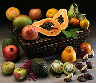 Cortland Fruit Basket: 14 Luscious In-Season Fruits, Hand-Selected with Handcrafted Chocolates in Our Keepsake Bamboo Basket with Lid   Perfect for Elegant Gift Giving, by Manhattan Fruitier