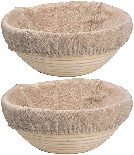 DOYOLLA Bread Proofing Baskets Set of 2 8.5 inch Round Dough Proofing Bowls w/Liners Perfect for Home Sourdough Bakers Baking