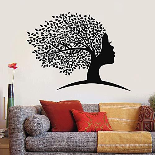 Tatuajes de Pared Abstracto Rostro Femenino Mujeres Chica Cabeza Árbol Hojas Puerta Ventana Vinilo Pegatinas Creativo Mural Dormitorio Decoración del hogar