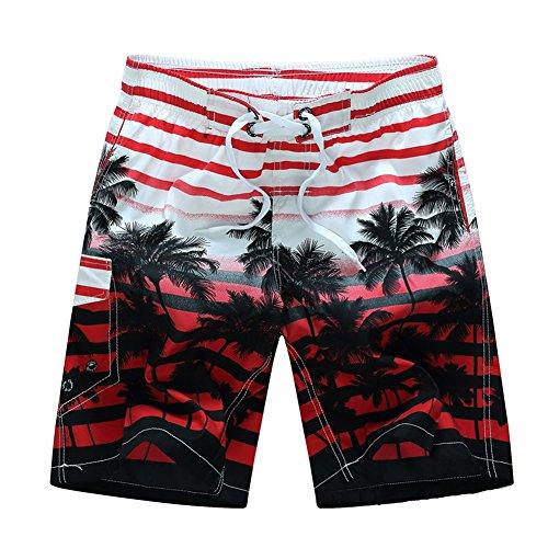 Shorts Bermuda Homme Été Casual Pantalons Courts Respirant Maillot de Bain Respirants Imprimé Cocotier Séchage Rapide Shorts avec Cordon pour Bain Plage Sports Vacances Natation