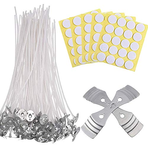 Candle Wicks, 100PCS 15cm Pre Waxed Wicks, 100PCS Double-Sided Dots Wick Stickers, with 2PCS Stainless Steel Wick Fixed Holder Sustainer for Candle Making DIY