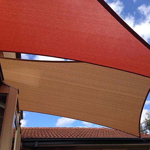 E&K Sunrise 8' x 8' Brown Sun Shade Sail Square Canopy - Permeable UV Block Fabric Durable Patio Outdoor Set of 1