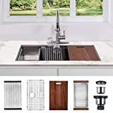 30 x 18 x 9 inch Undermount Kitchen Sink, Workstation Ledge 18 Gauge Stainless Steel Sink Modern...