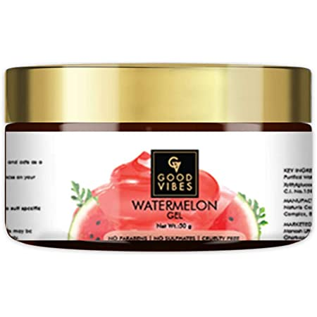 Good Vibes Watermelon Gel - 50 g - Anti-Ageing Hydrating Skin Formula Removes Dark Spots and Blackheads - Ideal for Dry and Brittle Hair - Cruelty Free