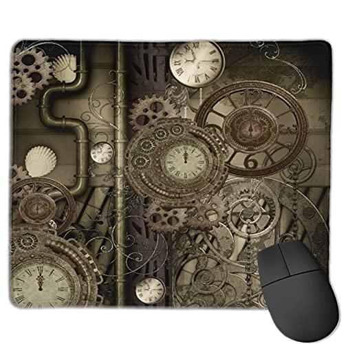 GEHIYPA Alfombrilla de ratón,Relojes y Engranajes Steam Punk, Base de Goma Antideslizante Alfombrilla de ratón para Juegos Alfombrilla Decoración de Escritorio 9.8'x11.8