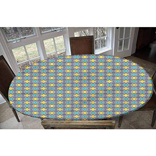 LCGGDB Trellis Elastic Edged Polyester Fitted Tablecolth -Antique Retro Pattern- Oval/Olbong Fitted Table Cover - Fits Oval/Olbong Tables up to 48'x68',The Ultimate Protection for Your Table