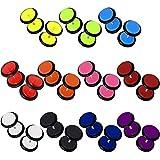 set de 12 pareas Plugs falso fake tunnel pendientes aretes para atornillar con anillo de caucho o ring colorido 8 mm