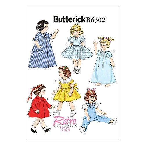 Butterick Schnittmuster 6302OS 18Puppenkleider Schnittmuster, Mehrfarbig