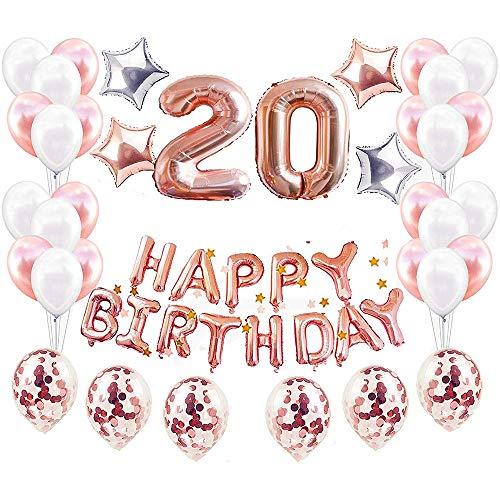 JinSu Or Rose 20 Ans Anniversaire Ballons Décorations pour Filles, 48 Pcs Inclure Happy Birthday Ballon Bannière, Ballon à Étoiles, Ballons en Latex Confettis, Fournitures de Fête Kit
