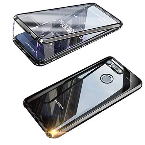 Handyhülle für Huawei Honor View 20 Hülle Magnetische Adsorption Technologie Metallrahmen 360 Grad Schutzhülle Vorne & Hinten Transparent Vollbildabdeckung Gehärtetem Glas Schutz Flip Hülle,Schwarz