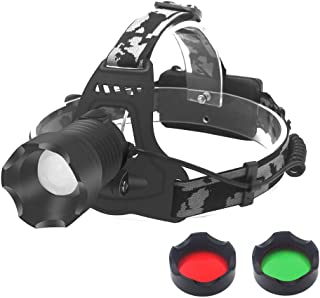 Tactical LED Headlamp Flashlight, Hunting Headlight Zoomable 3 Colors Exchange Red Light Green Light Lens and White Light Headlamp for Camping Hiking Fishing
