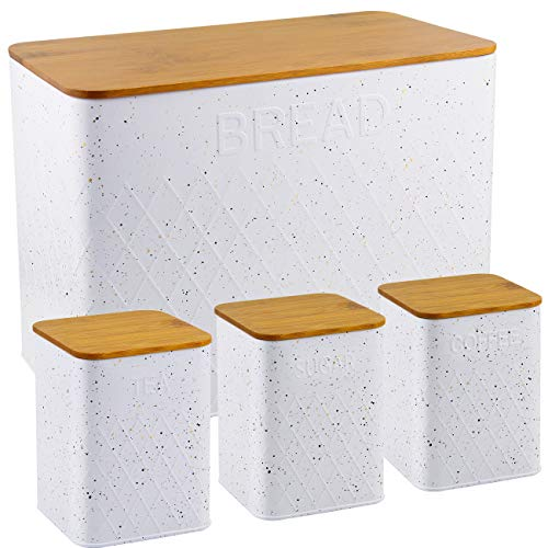 HausRoland Bread Box for Kitchen Counter Stainless Steel Bread Bin Storage Container For Loaves Pastries Dry Food (White, GS-03052-A405)