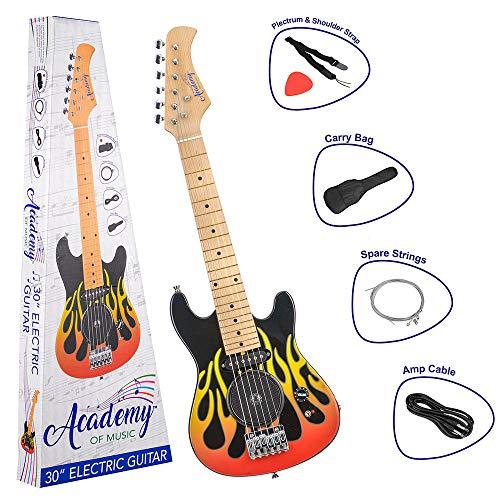 Academy of Music TY6016B - Juego de guitarra eléctrica infantil para principiantes con amplificador integrado y accesorios, llamas