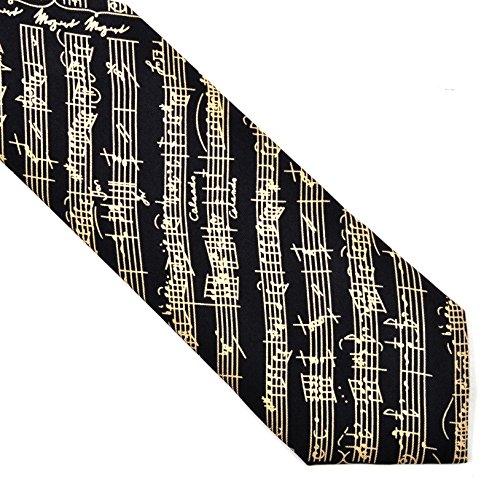 Music Gift Silk Tie Black Mozart - TIE