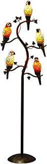 Makenier Vintage Tiffany Style Stained Glass Floor Lamp with 5-Light Parrot Bird + Leaf Tree Branch Design Antique Bronze Finish for Bedroom, Living Room, Study, Cafe, Bar