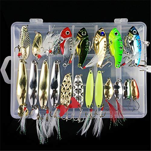 RoseFlower 21 Piezas Kits de señuelos para Pesca Cebos Artificiales de Pesca Cebo Duros/Suaves Incluye Ranas, Giratorios, Cuchara, Anzuelos - Pesca Accesorios para Pesca de Trucha, Bagre y Lucio