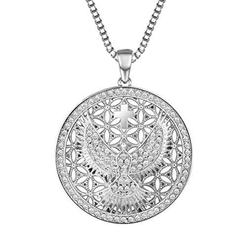 Suplight Damen Runde Anhänger Halskette platiniert Taube und Kreuz Kettenanhänger mit 55cm Venezianierkette