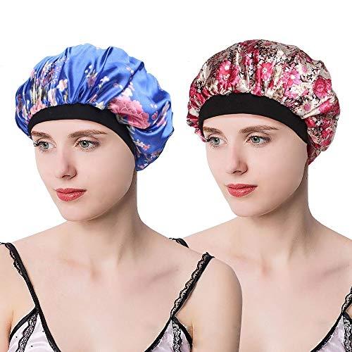 EINSKEY Schlafmütze Damen Atmungsaktive Sleep Cap Nachtmütze Kopfbedeckung Set, Einheitsgröße, Blau-Rosa, 2er Pack