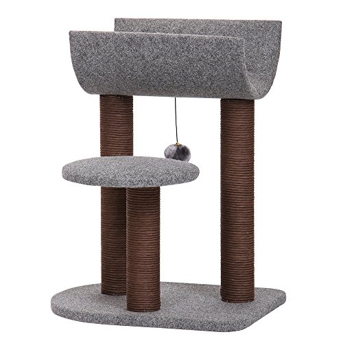 PetPals Cat Tree Cat Tower for Cat Activity with Scratching Postsand Toy BallGray Perch