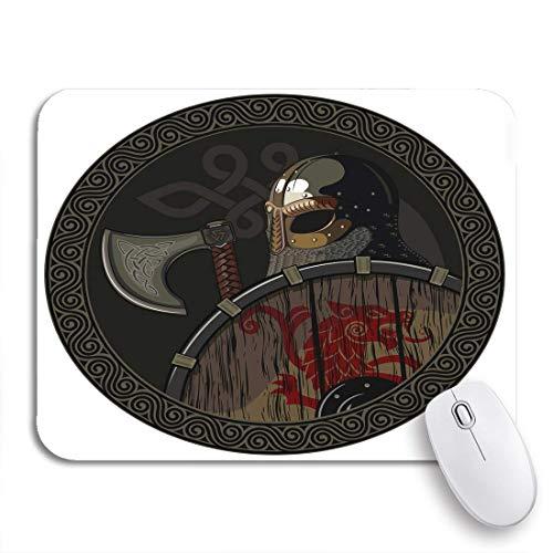 AIMILUX Gaming und Office Mauspad,Odin Warrior Barbar Viking Berserker Axt und Schild Weiß,rutschfester Unterseite