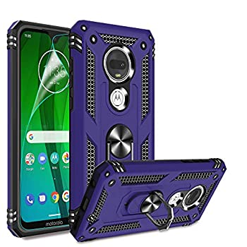 Compatible for Moto G7 Case Moto G7 Plus Case with HD Screen Protector Gritup Military-Grade Shockproof Protective Phone Case with Magnetic Kickstand Ring for Motorola Moto G7 / G7 Plus Purple