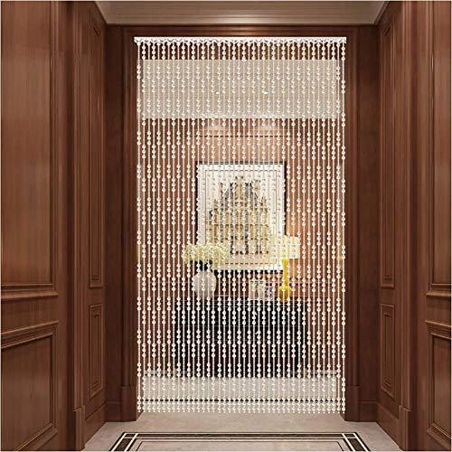 ZXL parels gordijnen kristallen glas deur gordijn roomdivider hangen snaren kast woonkamer decoratie (kleur: A, grootte: 40 strengen 100x220cm)