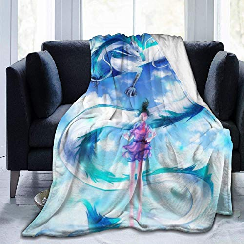 NR Anime Spirited Away Mantas de microfibra colchas de forro polar, ultra suave, funda de cama de coral para dormitorio, sala de estar, sofá de 203 x 152 cm