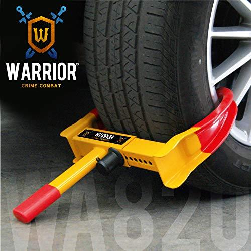 Warrior WA820 Wegfahrsperre Radkralle, Parkkralle Diebstahlsicherung für Radklemmen, Universal, verstellbare Autos, Wohnwagen, Anhänger, PVC-Schutz, Anti-Bohrschloss