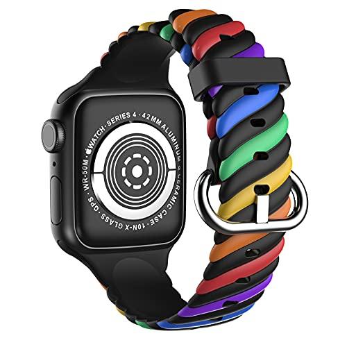 Mersidany Correa Suave de Silicona para iWatch 38/40mm, Banda Deportiva iWatch para Apple Watch Series SE 6 5 4 3 2 1 (d)