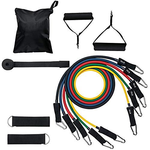 WANGYING Juego de bandas de resistencia, 11 unidades, banda de resistencia TPE elástica, cuerda para gimnasio, casa, fitness, deportes, entrenamiento, equipo de construcción