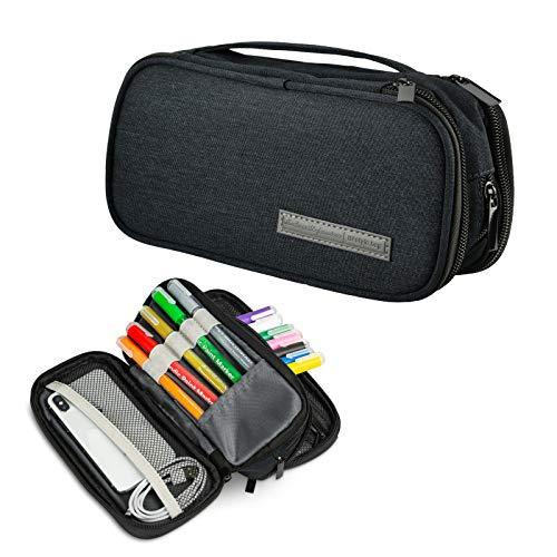Qoosea Estuche grande para lápices Estuches escolares de gran capacidad, portátil, papelería de oficina, útiles escolares, adecuado para estudiantes universitarios de secundaria, regalos (Negro)