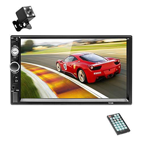 Hodozzy 2 Din Bluetooth Autoradio, 7 Zoll Touchscreen-Auto-Multimedia-Player, Doppel Din Autoradio mit FM/Aux/USB/SD/Lenkradsteuerung/Mirror Link +Rückfahrkamera